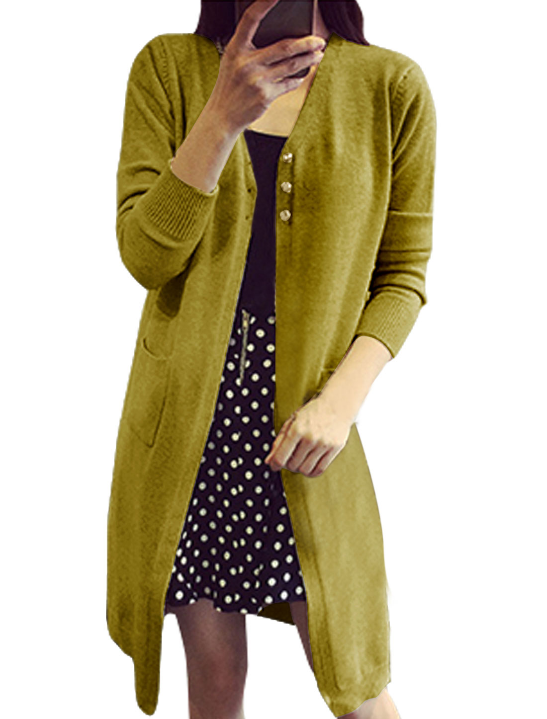 Women Two Pockets Front Single Breasted Long Knit Cardigan Olive S