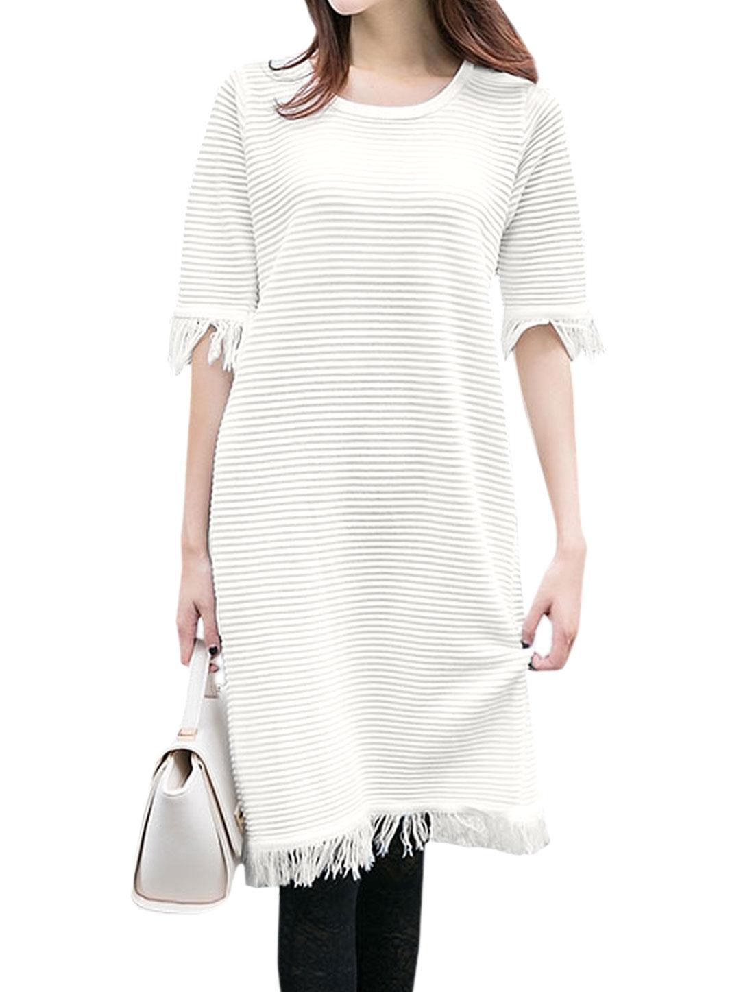 Women Round Neck Elbow Sleeve Fringed Edge Tunic Knit Dress White S