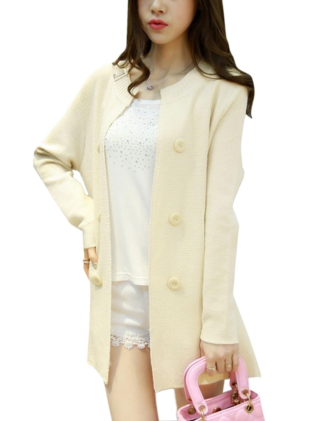 Women Open Front Textured Buttons Decor Tunic Knit Cardigan Beige M