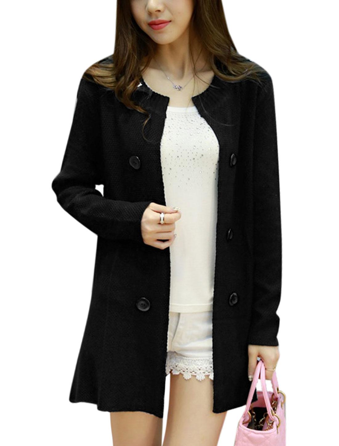 Women Panel Design Buttons Decor Tunic Knit Cardigan Black M
