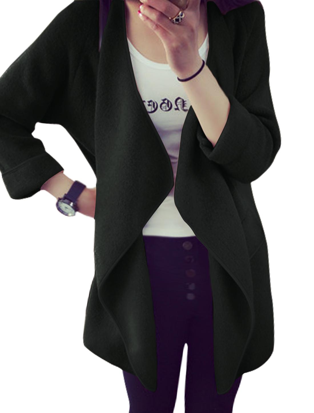 Women Long Sleeves Draped Mock Pockets Front Tunic Knit Cardigan Black XS