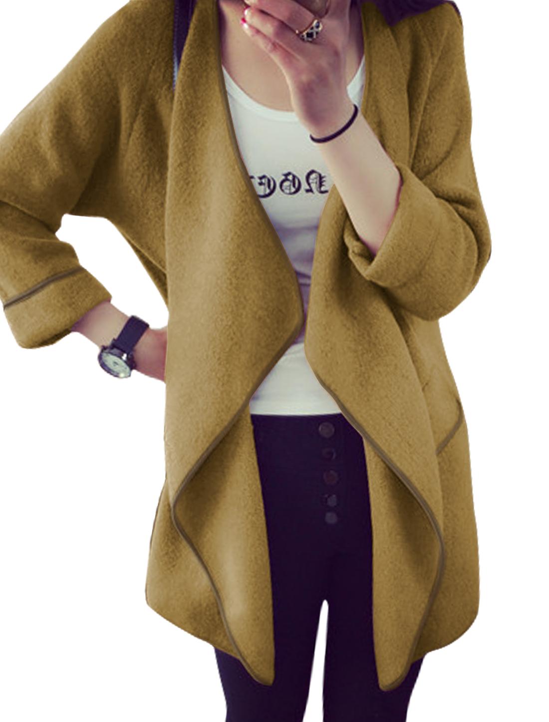 Women Draped Buttonless Casual Tunic Knit Cardigan Camel XS