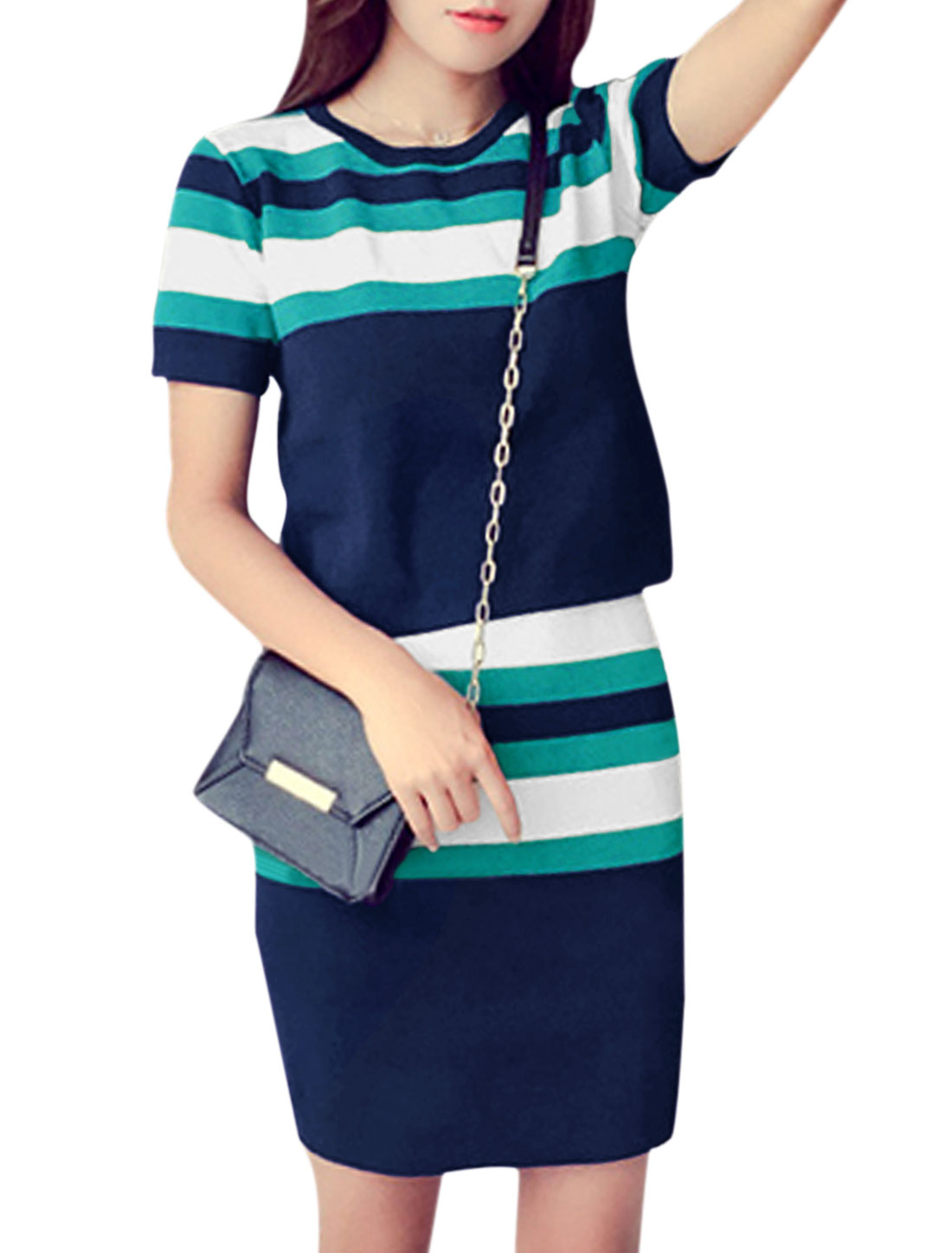 Women Stripes Knit Top w Stripe Knitted Pencil Skirt Set Sea Green Navy XS