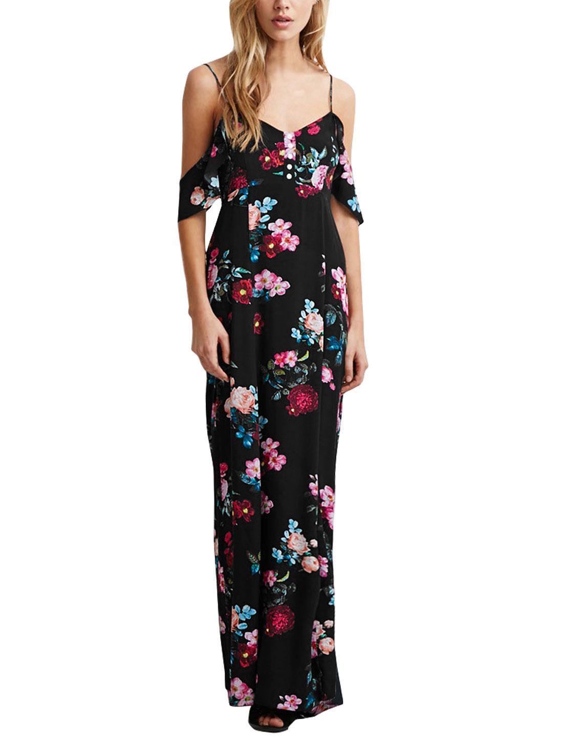 Women Straps Open Shoulder Floral Prints Maxi Dress Black S