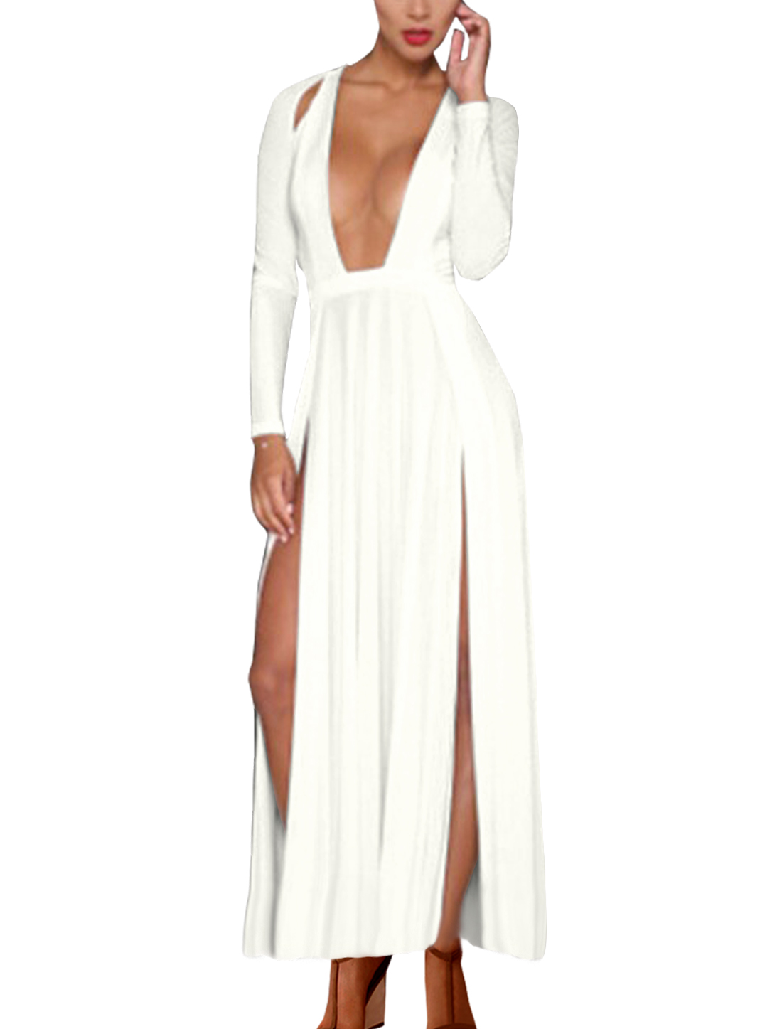 Women Plunging Neck Long Sleeve High Slits Maxi Dress White L