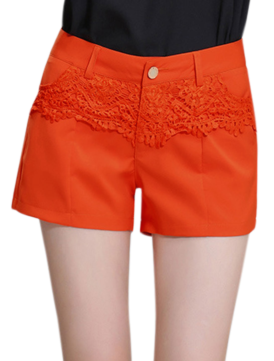 Woman High Waisted Lace Panel Casual Shorts Orange Red M