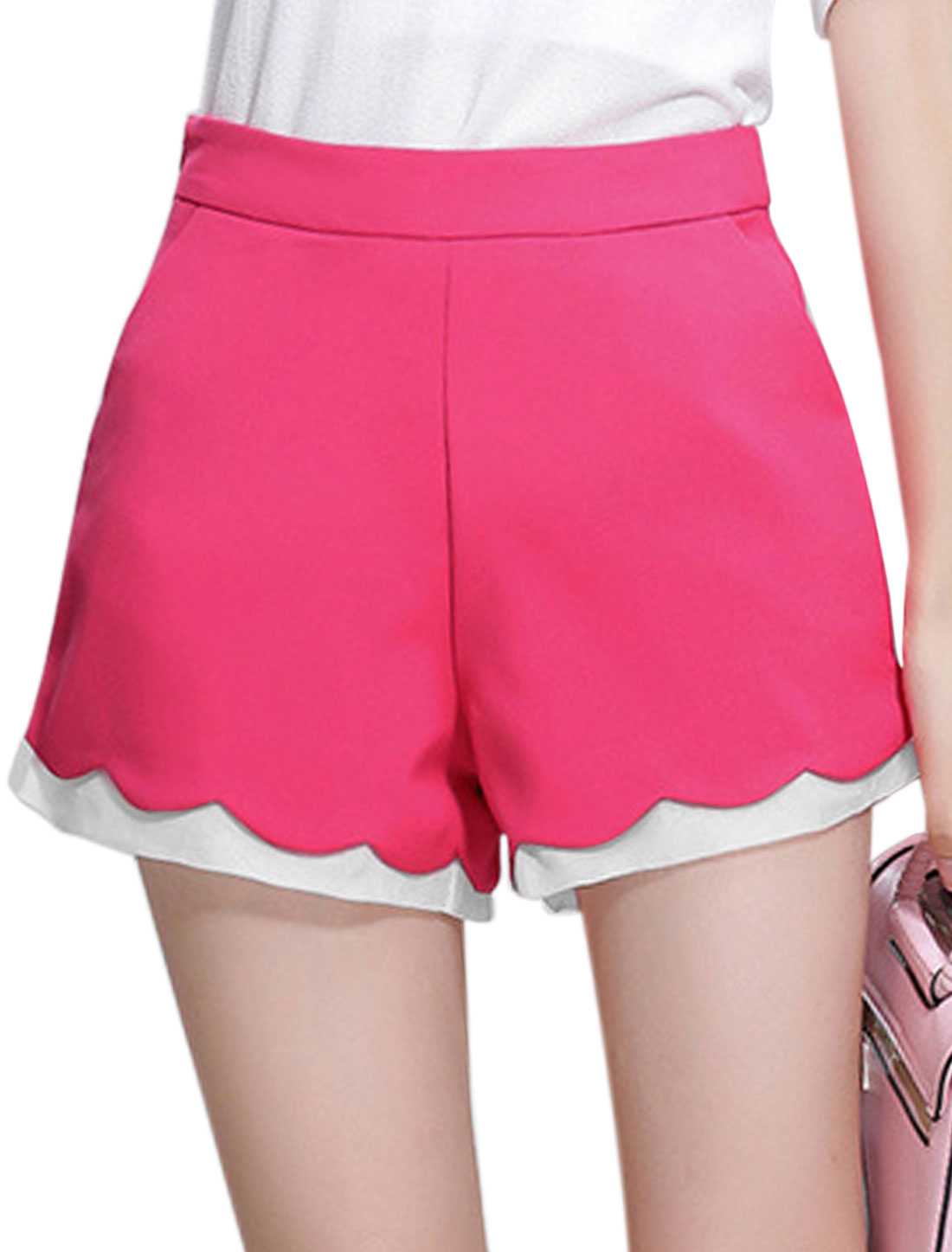 Ladies High Waisted Zip Closure Casual Shorts Fuchsia L