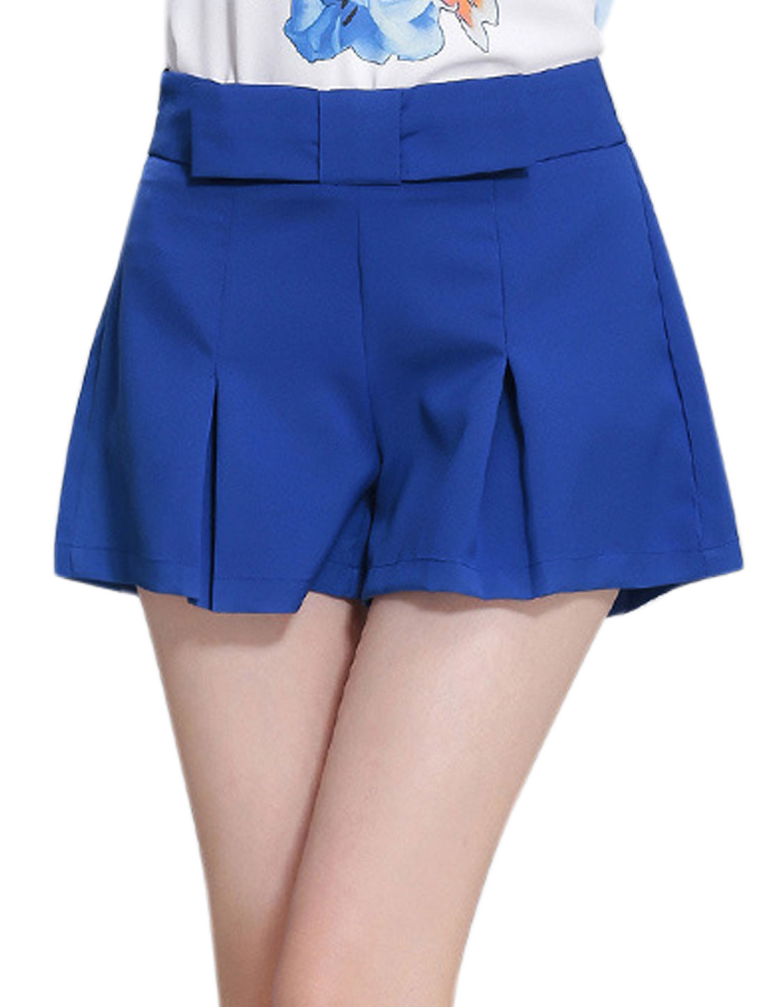 Woman Zip Up Pleated Design Pockets Casual Shorts Blue L