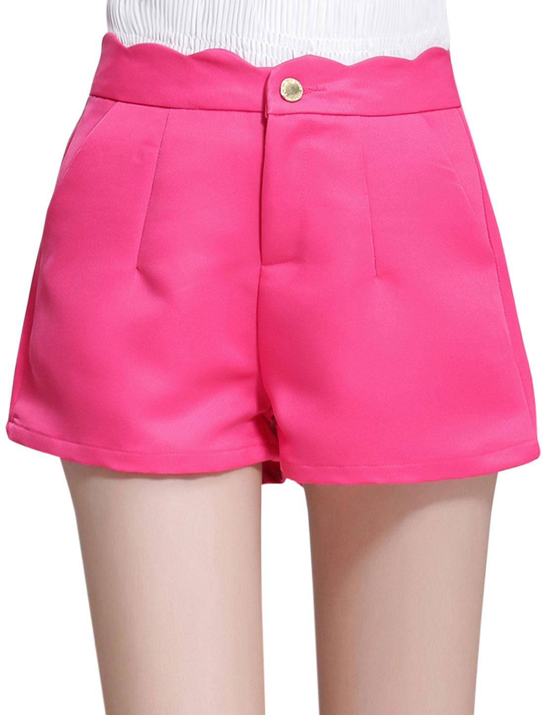 Women High Waist Two Mock Pockets Back Short Pants Fuchsia L
