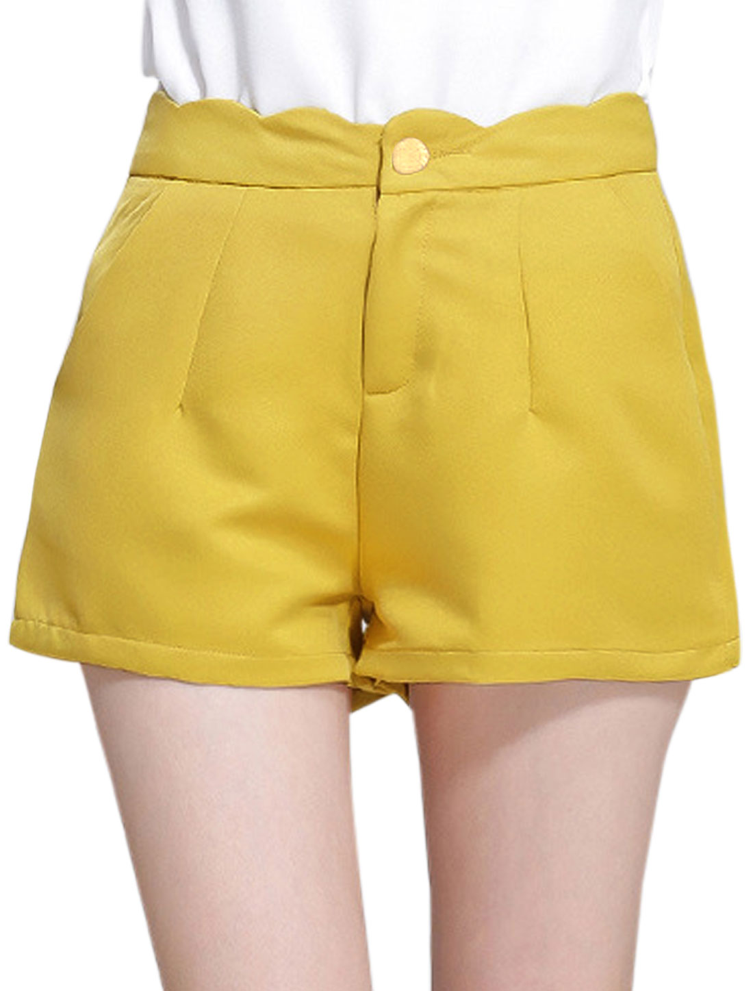 Women Scalloped Waist Two Mock Pockets Back Casual Shorts Curry L