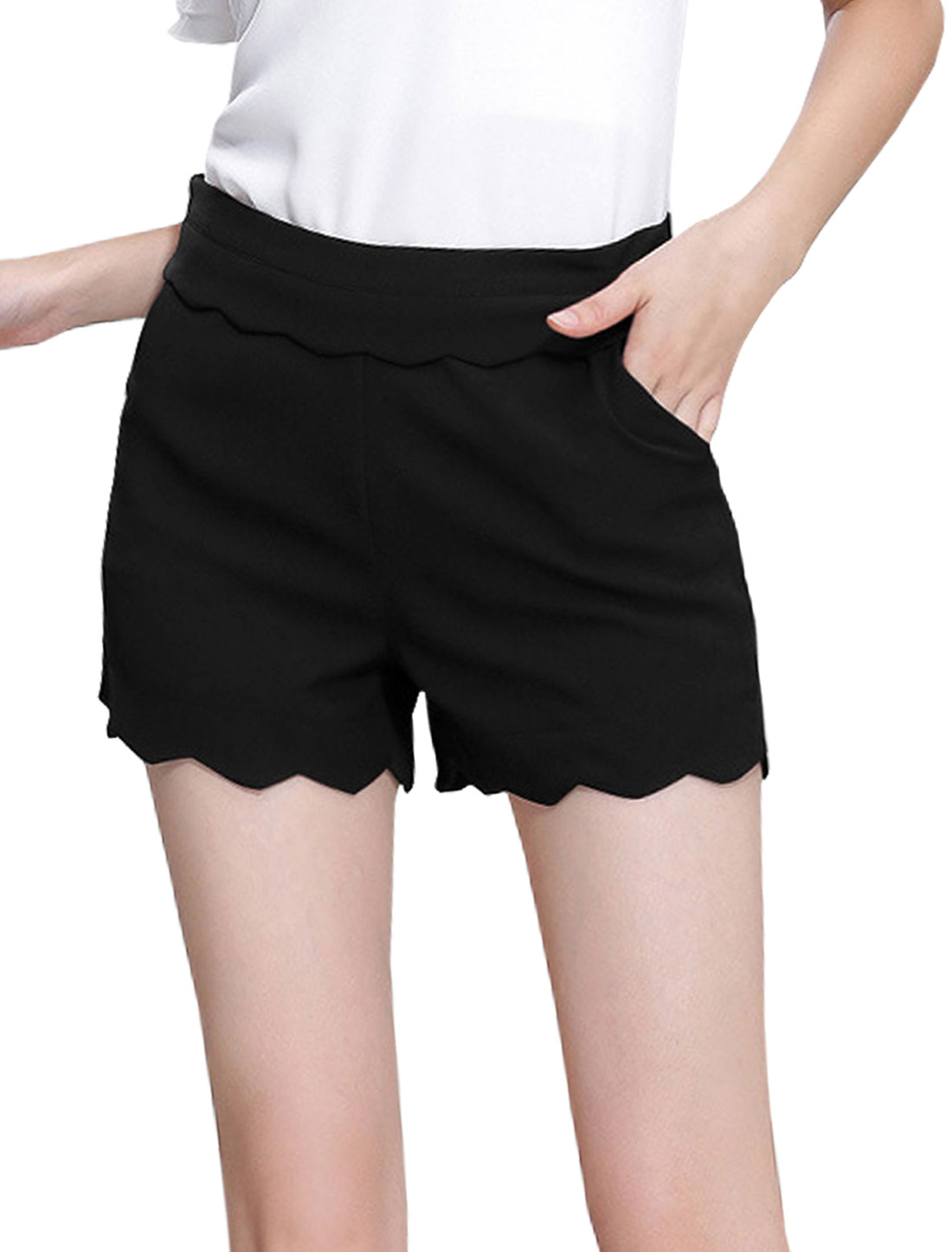 Ladies High Waisted Conceal Zipper Side Casual Shorts Black L