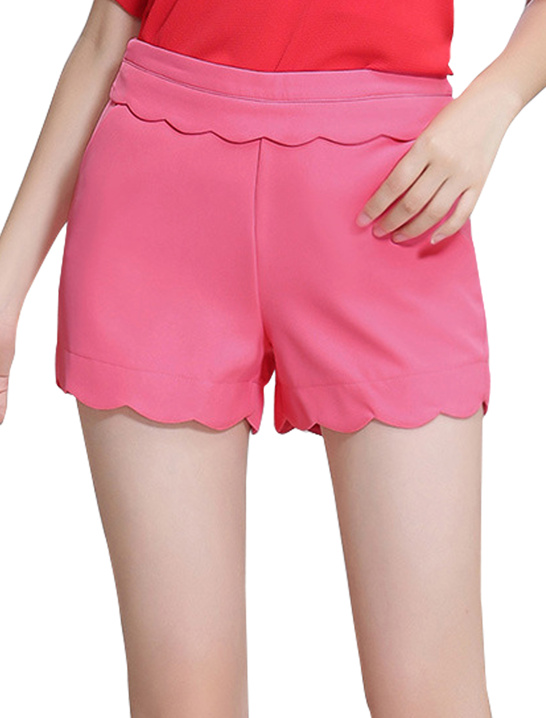 Ladies Scalloped Trim High Waist Casual Shorts Pink L