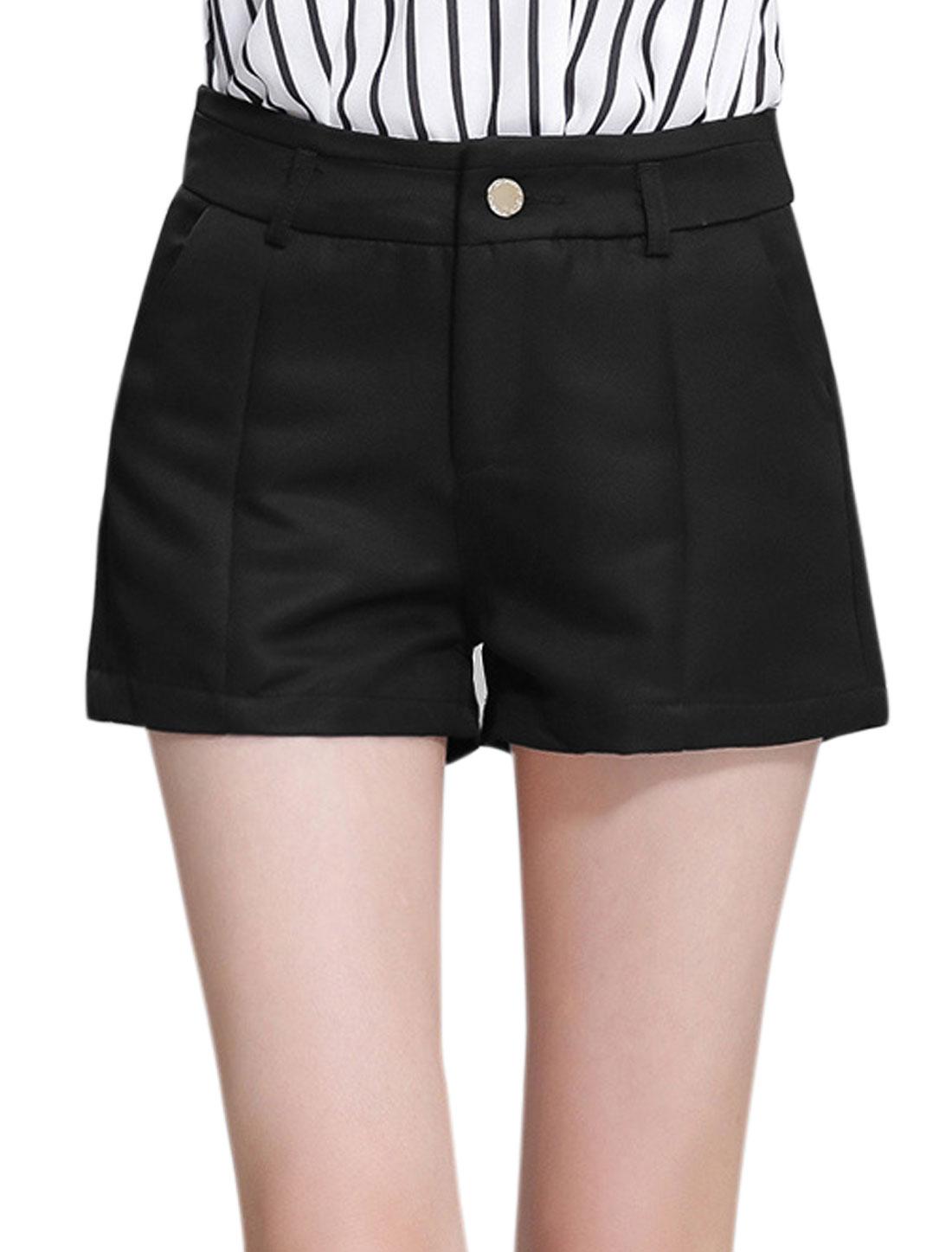 Ladies Button Closure Two Slant Pockets Casual Shorts Black L