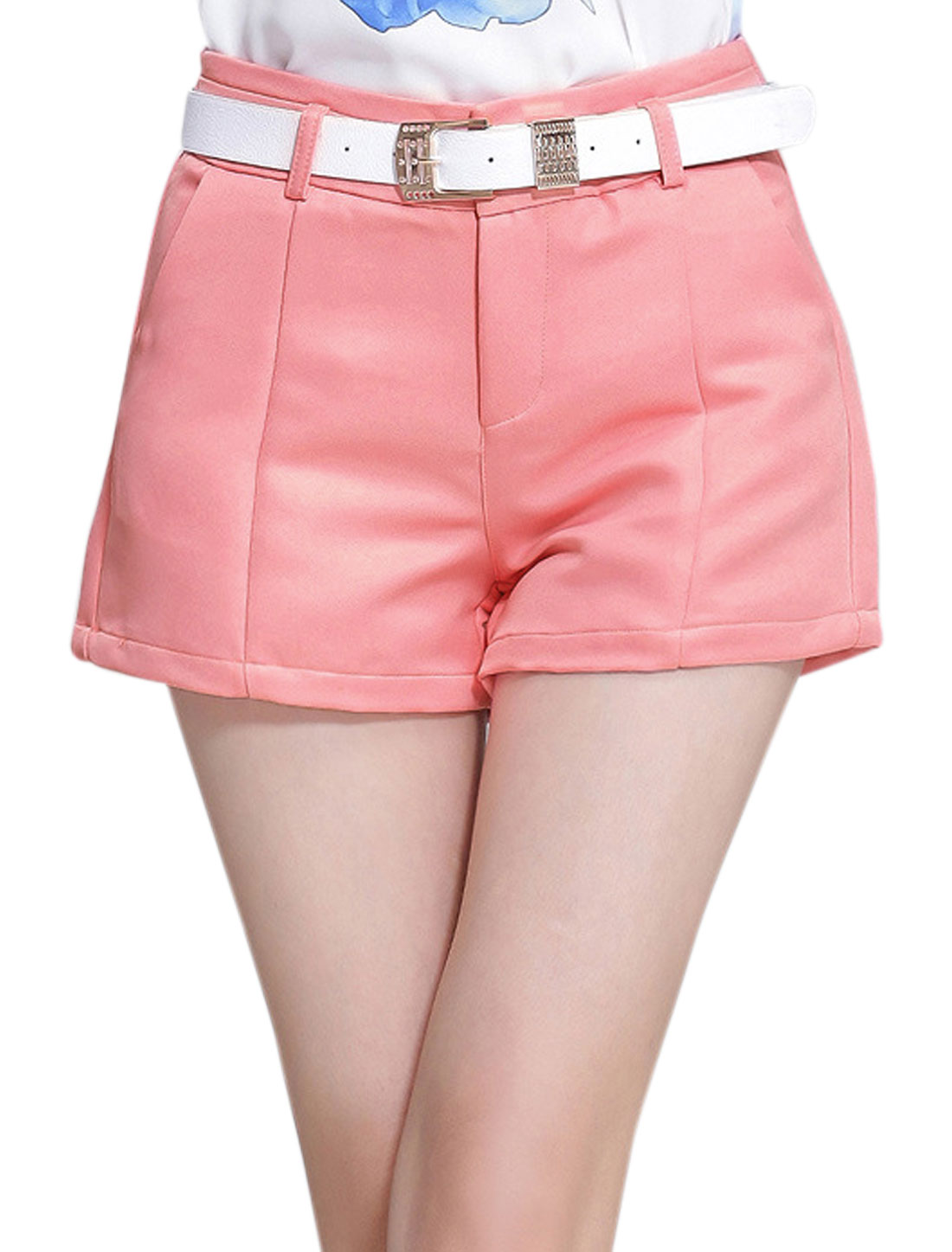 Ladies Two Pockets Button Closure Casual Shorts Pink L