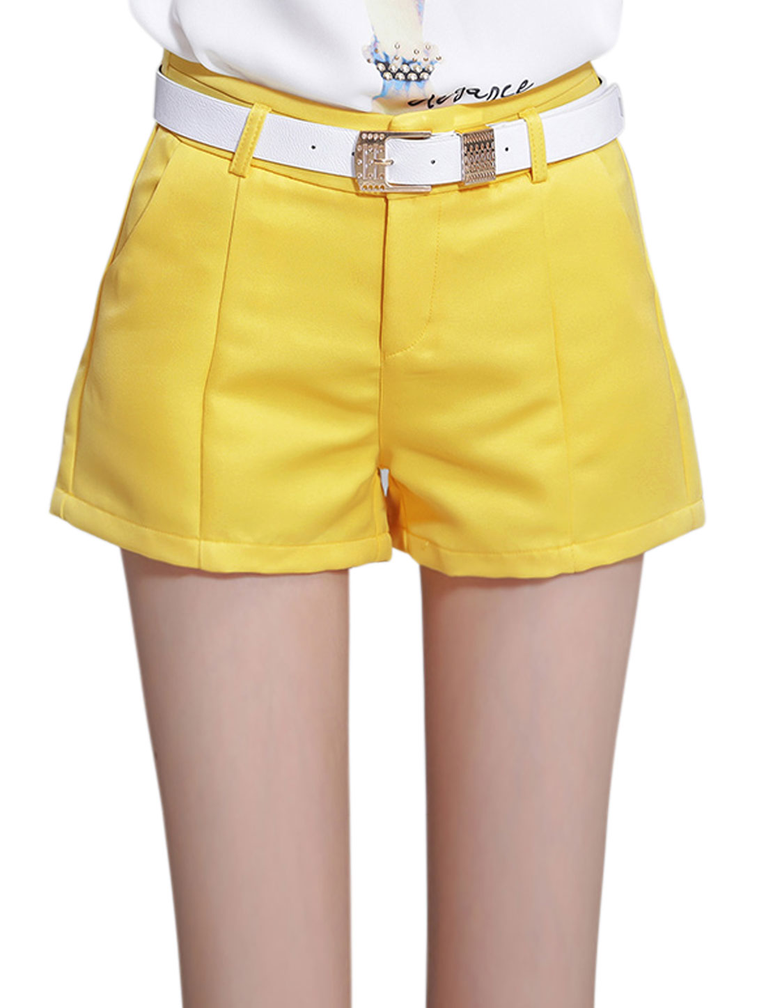 Women Two Slant Pockets High Waist Casual Shorts Yellow L