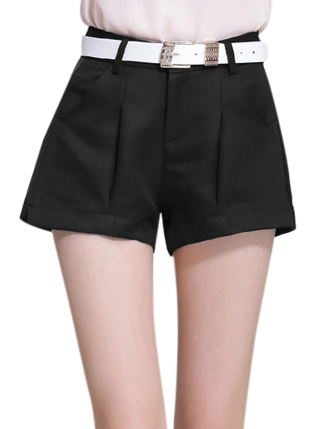 Ladies Button Closure High Waisted Casual Shorts Black M