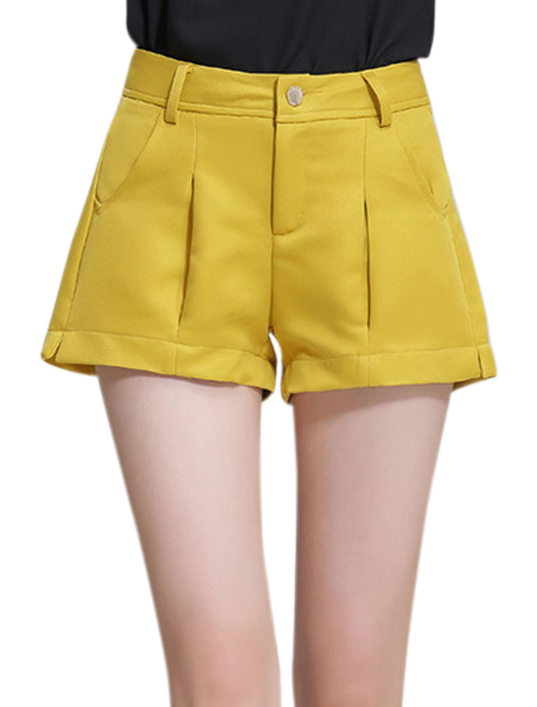 Ladies Two Slant Pockets High Rise Casual Shorts Yellow M
