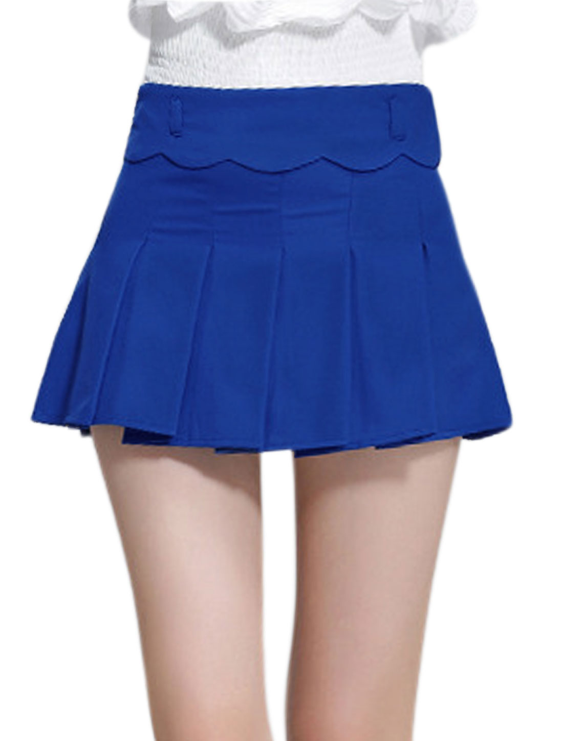 Woman High Rise Zip Up Pleated Casual Short Skort Blue L