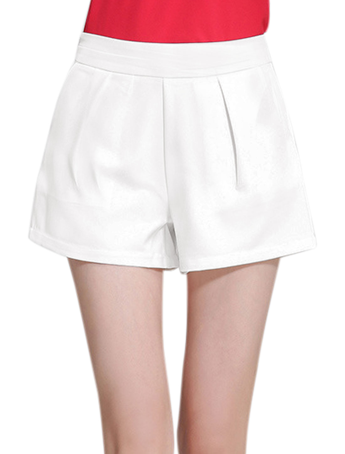 Women High Rise Hidden Zipper Side Slant Pockets Shorts White L