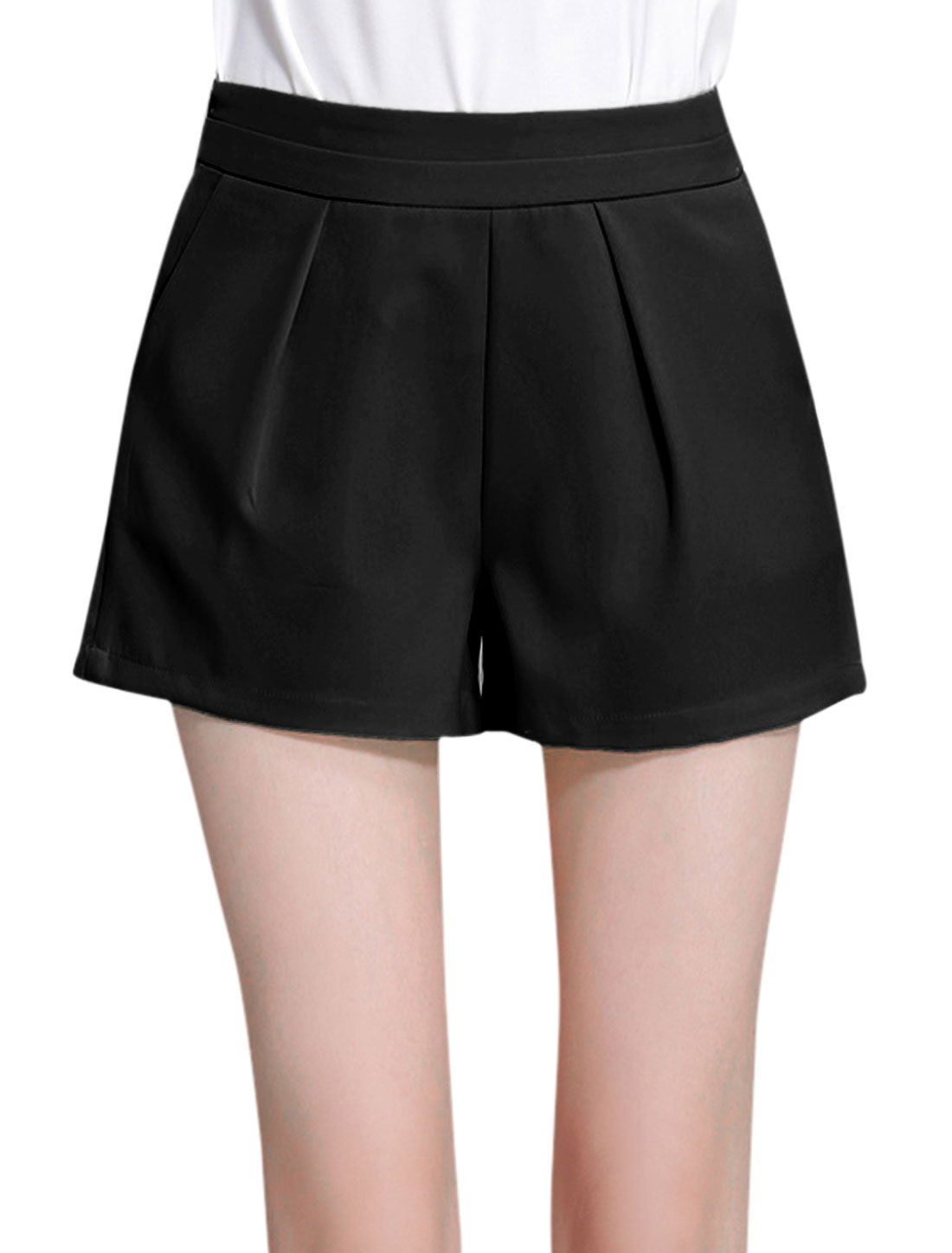 Women High Waist Flared Front Pockets Casual Shorts Black L