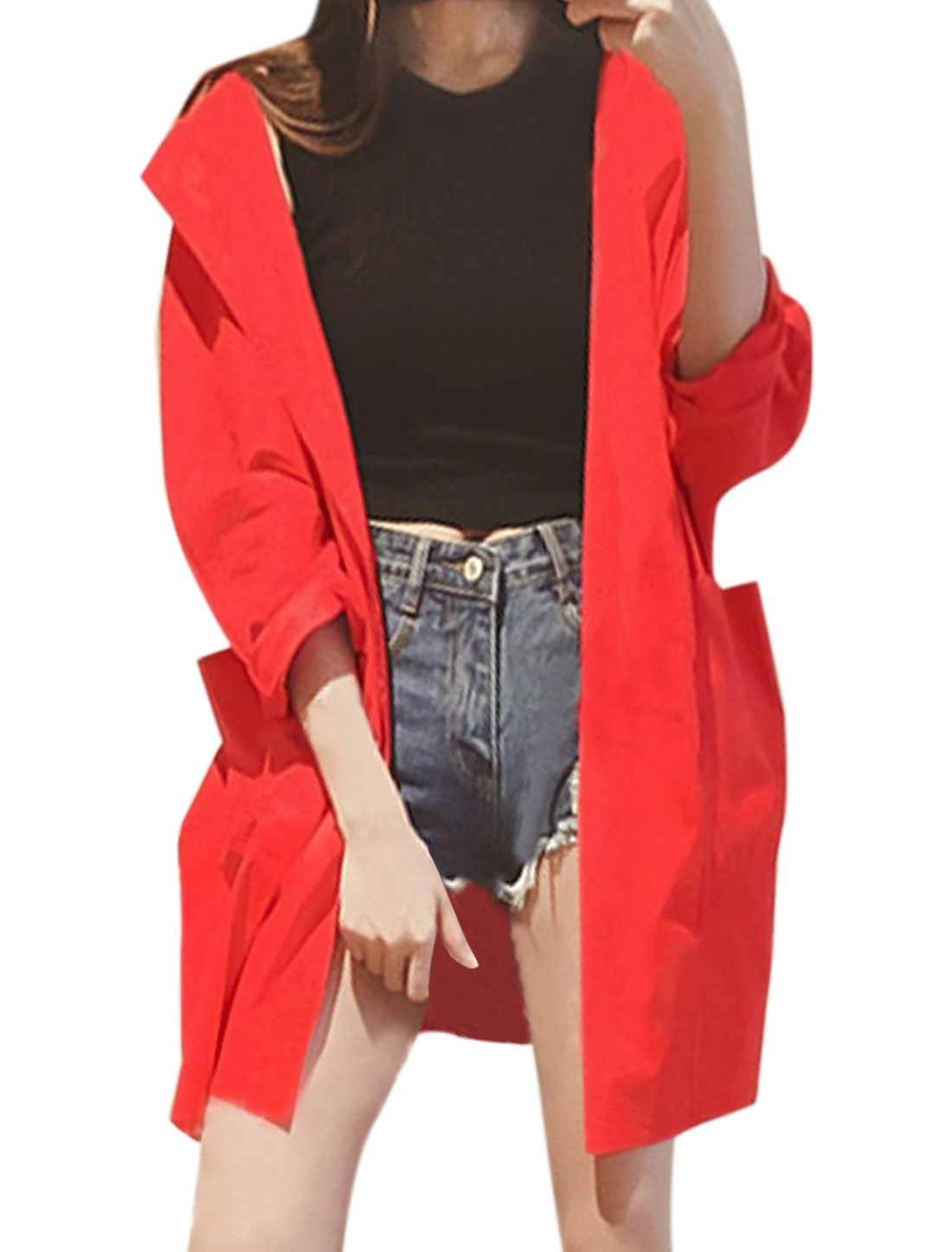 Woman Long Dolman Sleeve Front Opening Hooded Tunic Jacket Red M