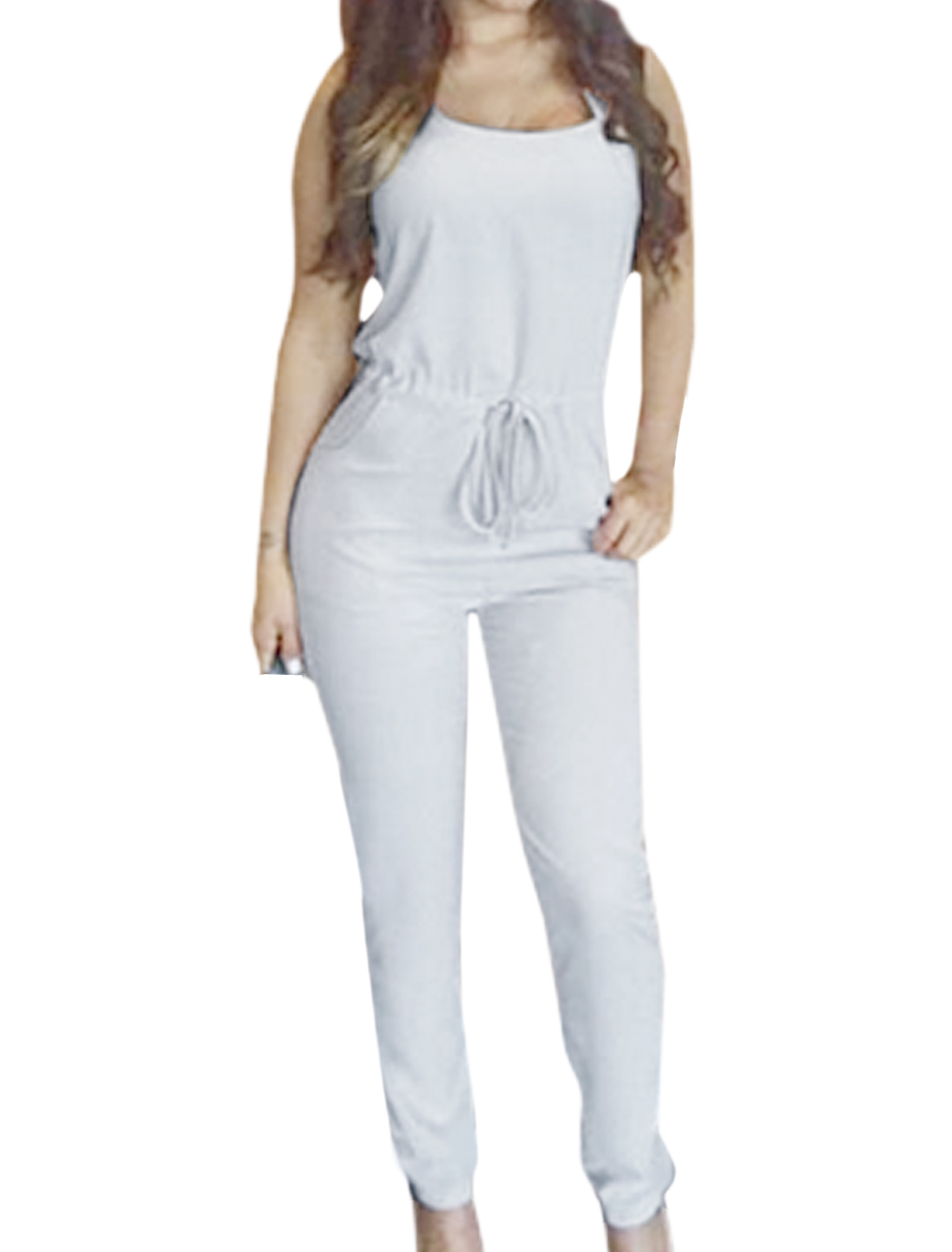 Woman Sleeveless Drawstring Waist Two Pockets Slim Fit Jumpsuit White M