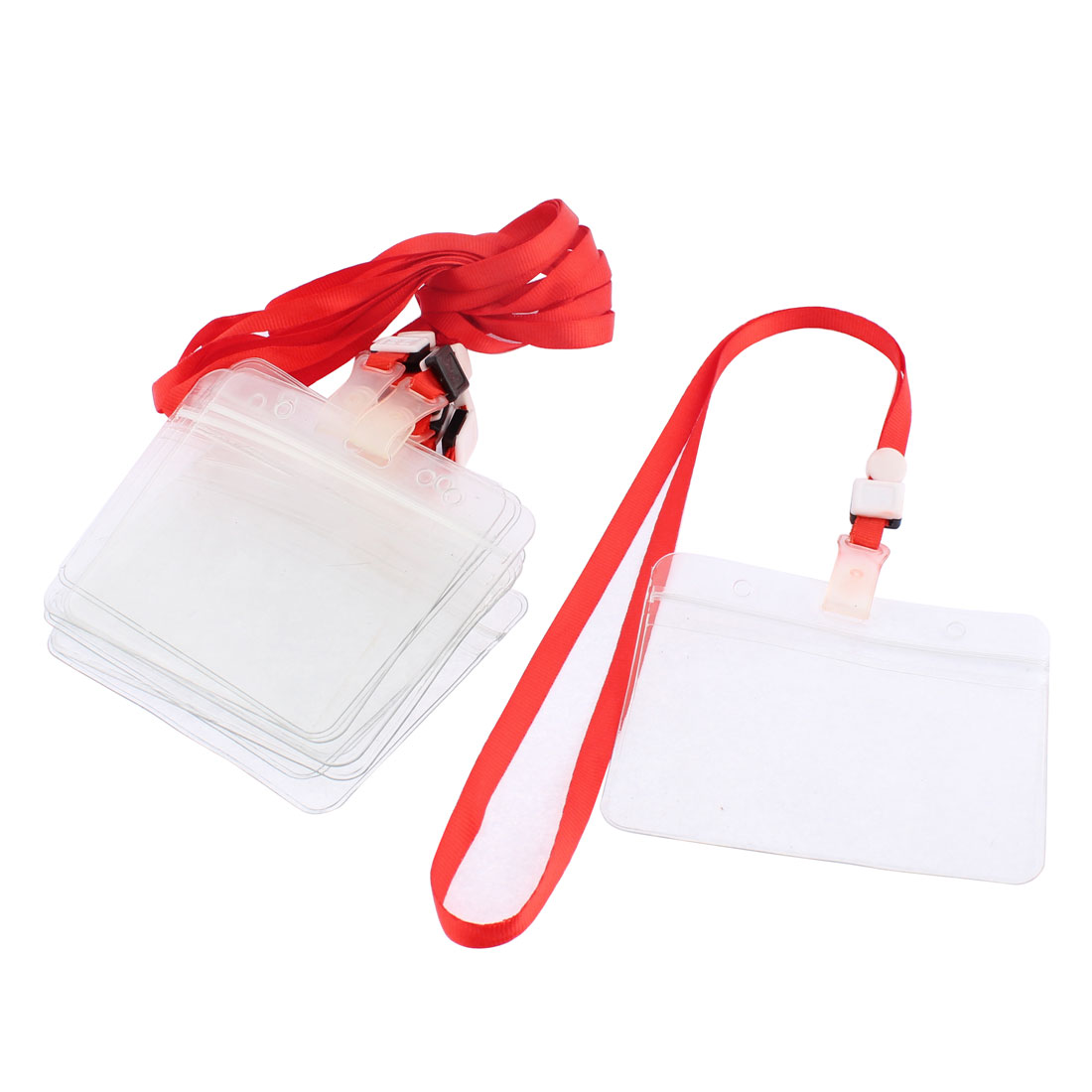 Clear ID Card Badge Horizontal Holder Red Neck Strap Lanyards 10Pcs
