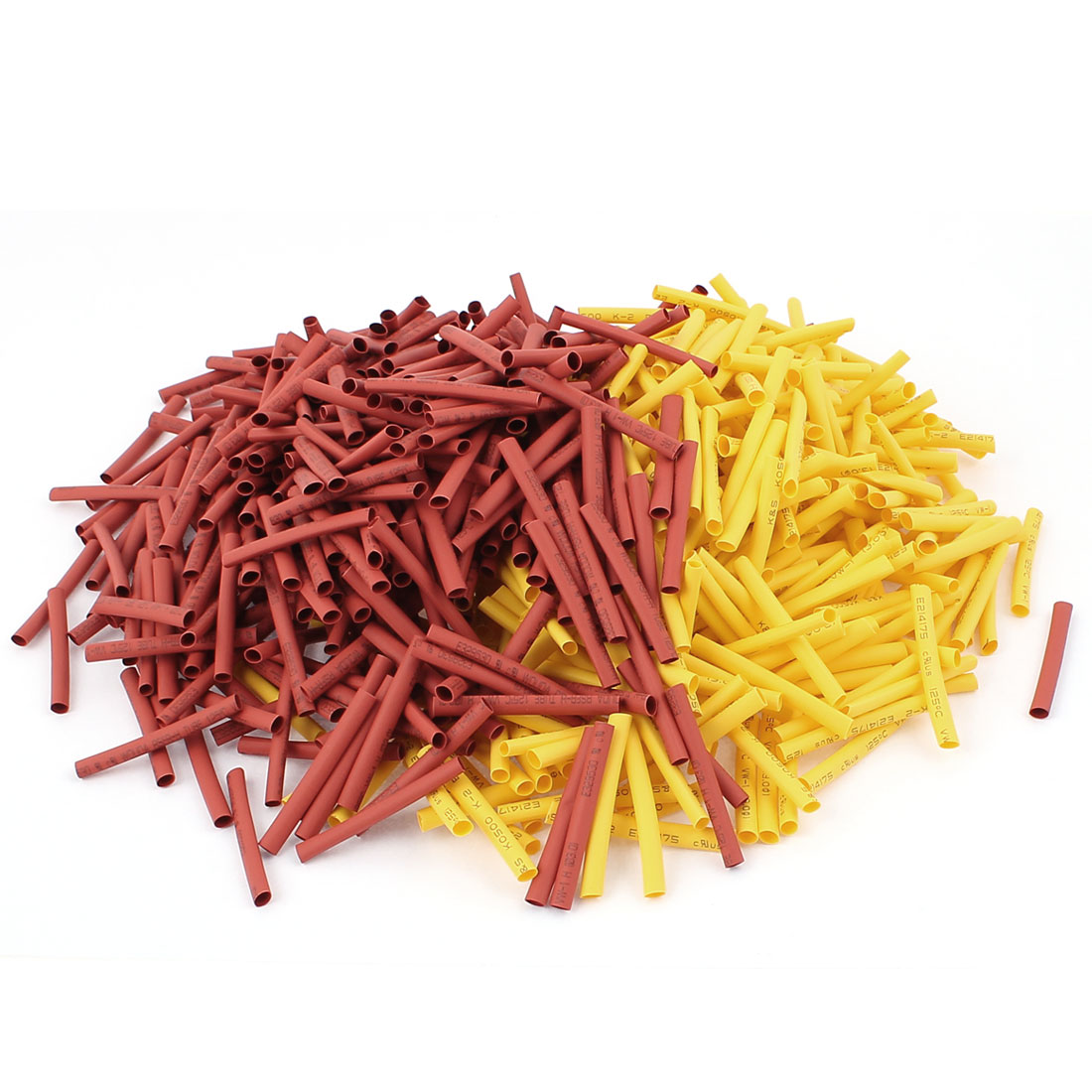 800pcs Ratio 2:1 Polyolefin 3mm Dia Heat Shrink Tube 40mm Long Red Yellow