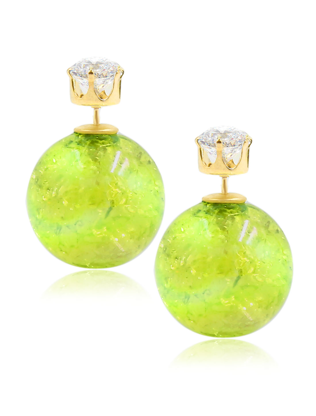 Fashion Women Elegant Double Sides Zircon Faux Crystal Ball Illusion-colour Earrings Ear Stud 1 Pair Green