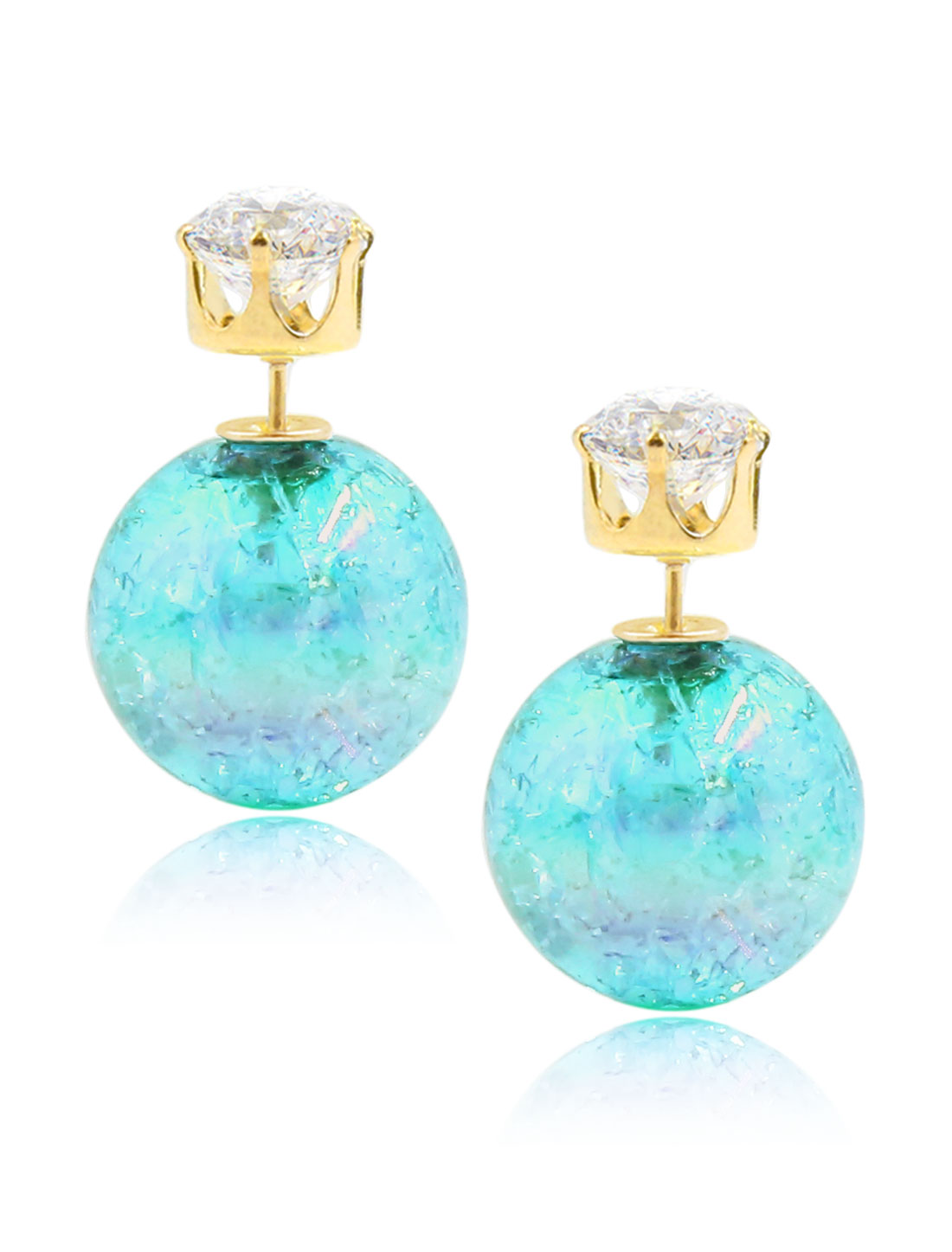 Fashion Women Elegant Double Sides Zircon Faux Crystal Ball Illusion-colour Earrings Ear Stud 1 Pair Sky Blue