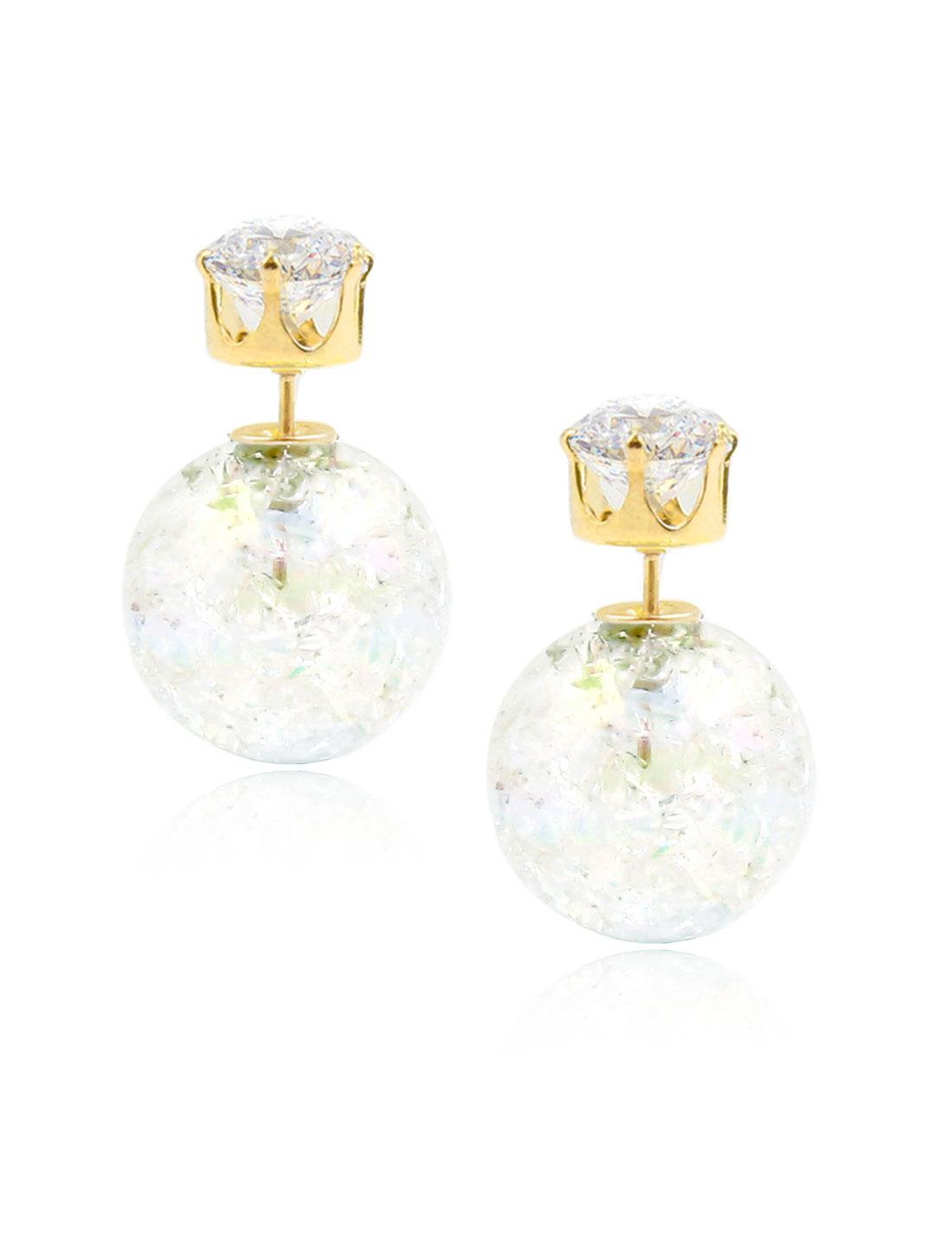 Fashion Women Elegant Double Sides Zircon Faux Crystal Ball Illusion-colour Earrings Ear Stud 1 Pair White