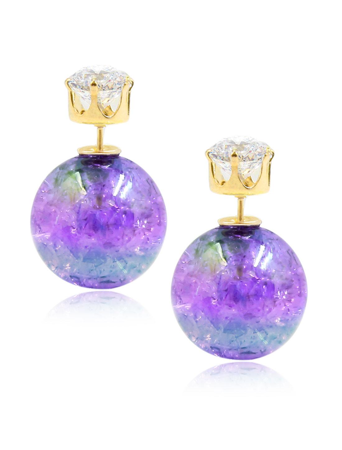 Fashion Women Elegant Double Sides Zircon Faux Crystal Ball Illusion-colour Earrings Ear Stud 1 Pair Purple