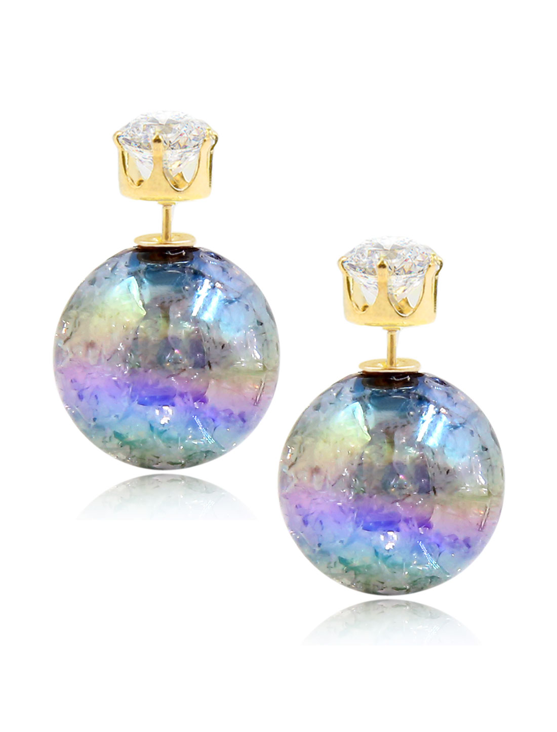 Fashion Women Elegant Double Sides Zircon Faux Crystal Ball Illusion-colour Earrings Ear Stud 1 Pair Gray