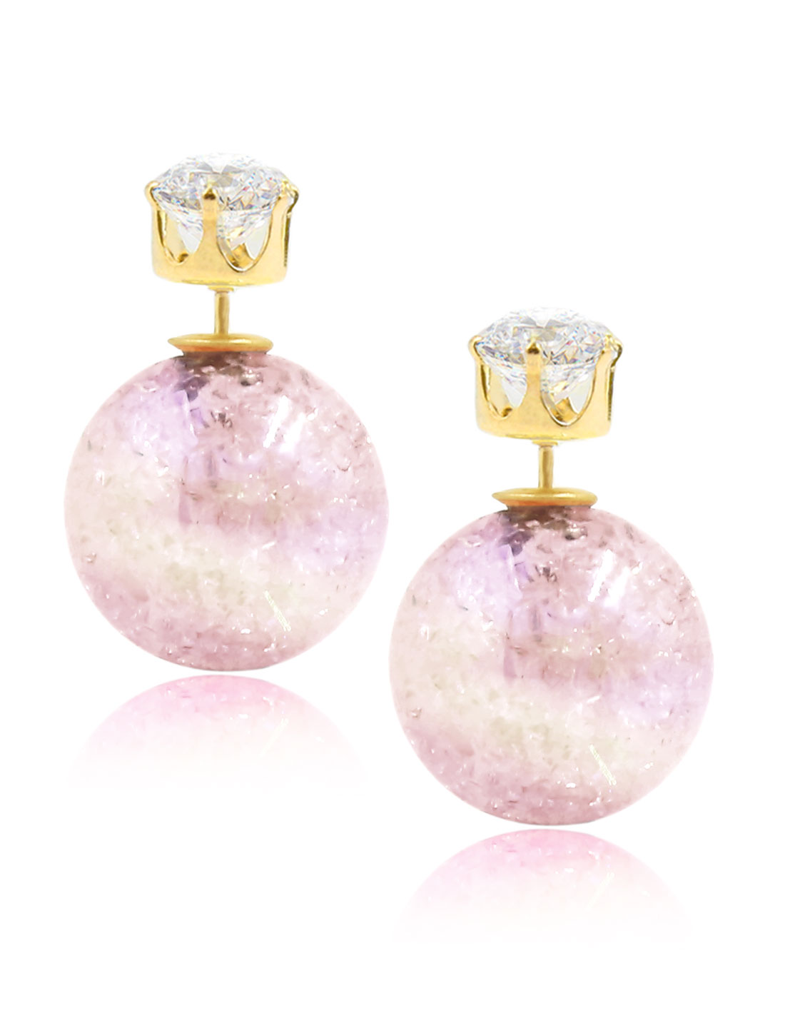 Fashion Women Elegant Double Sides Zircon Faux Crystal Ball Illusion-colour Earrings Ear Stud 1 Pair Light Pink