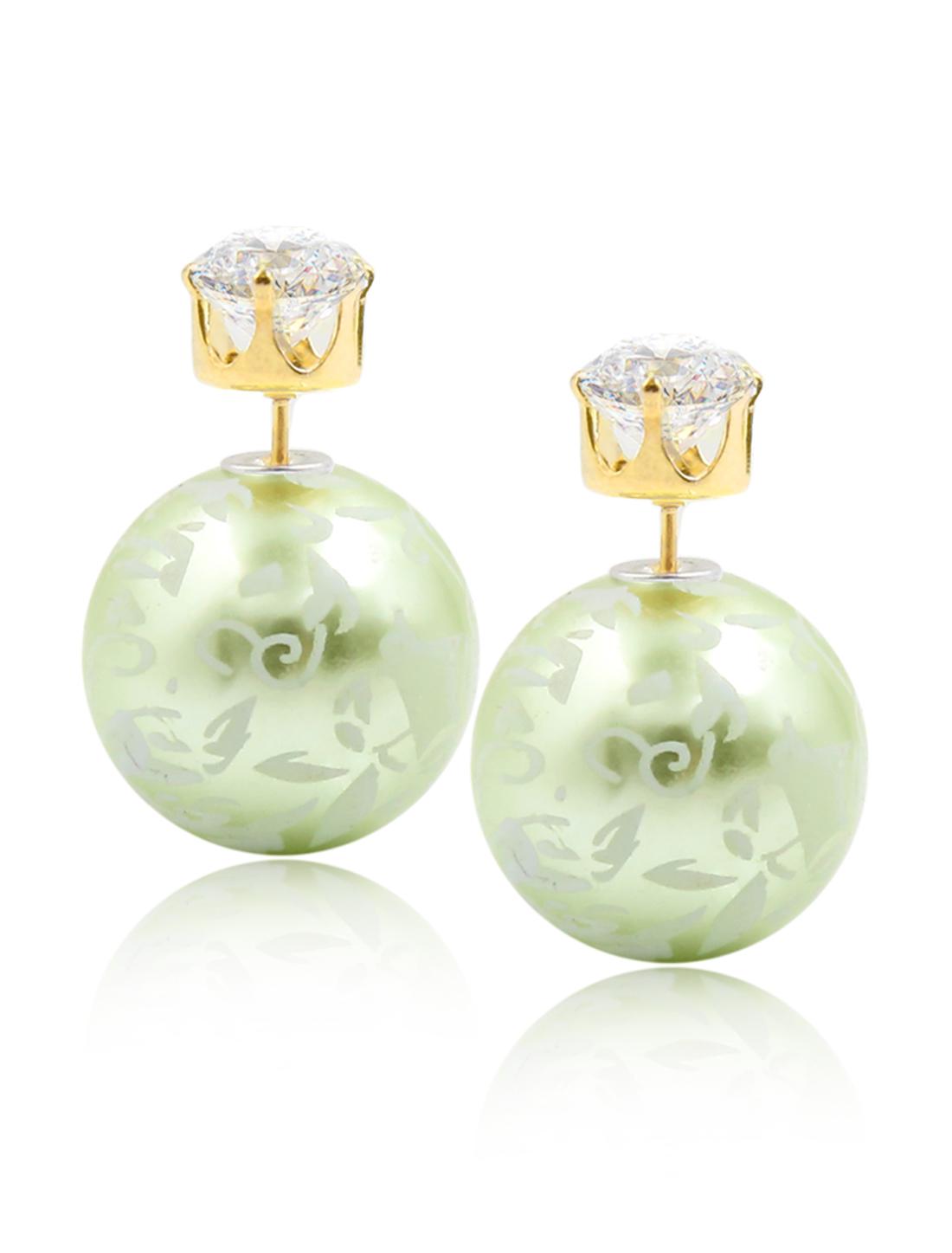 Fashion Women Elegant Double Sides Zircon Flower Pattern Ball Earrings Ear Stud 1 Pair Green