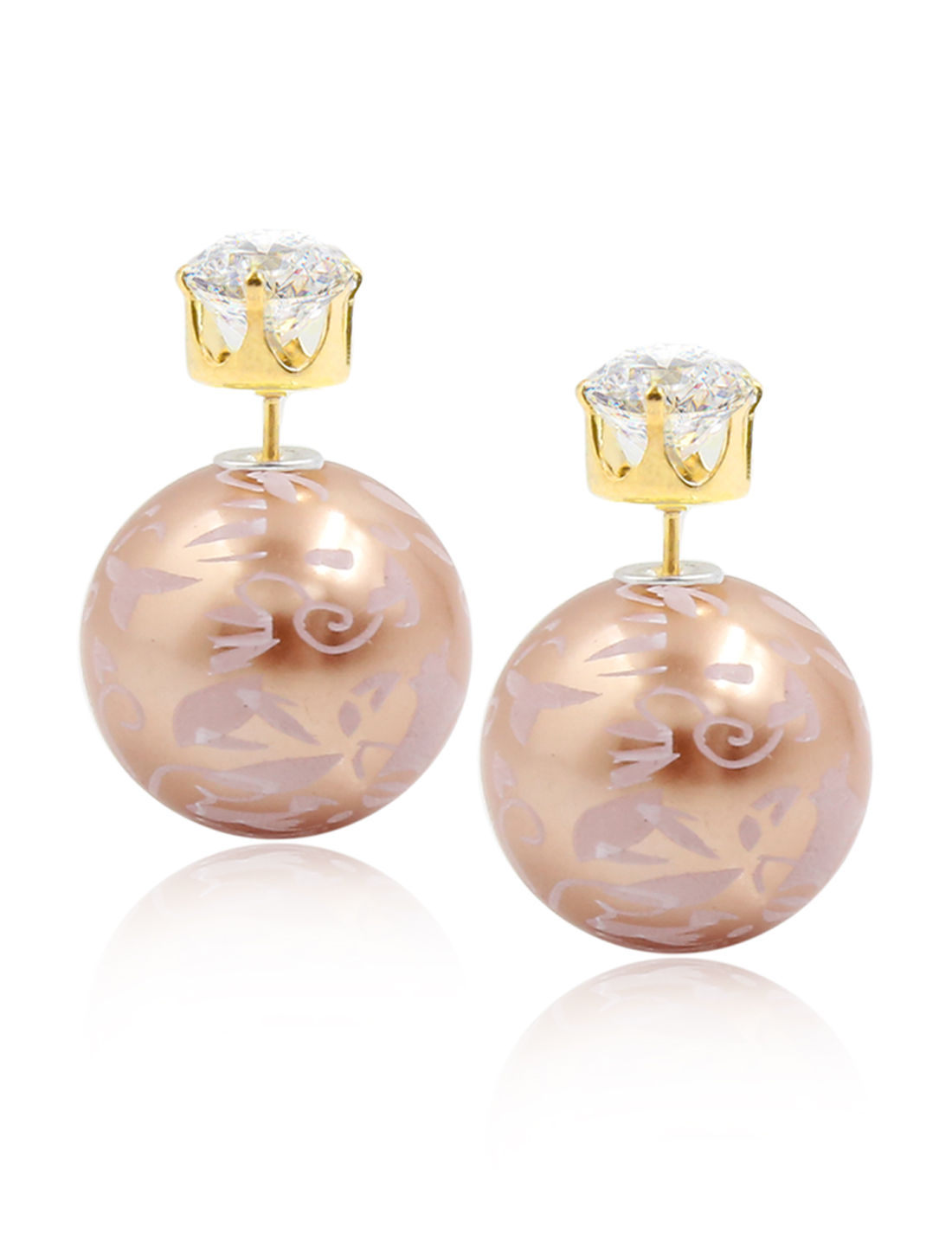 Fashion Women Elegant Double Sides Zircon Flower Pattern Ball Earrings Ear Stud 1 Pair Coffee