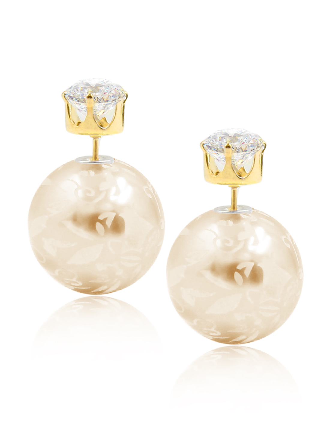 Fashion Women Elegant Double Sides Zircon Flower Pattern Ball Earrings Ear Stud 1 Pair Champagne