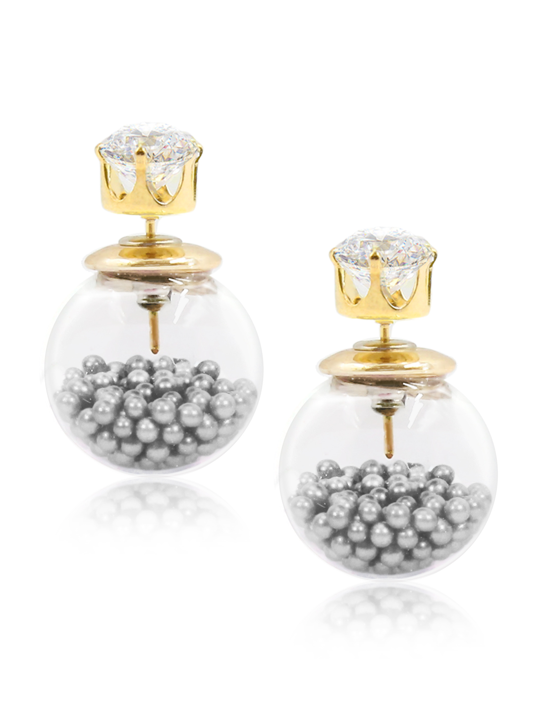 Fashion Women Elegant Double Sides Zircon Transparent Ball Faux Crystal Earrings Ear Stud 1 Pair Gray