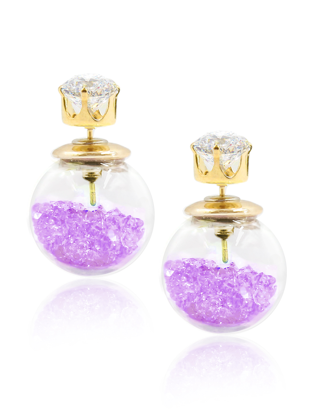 Fashion Women Elegant Double Sides Zircon Transparent Ball Faux Crystal Earrings Ear Stud 1 Pair Purple