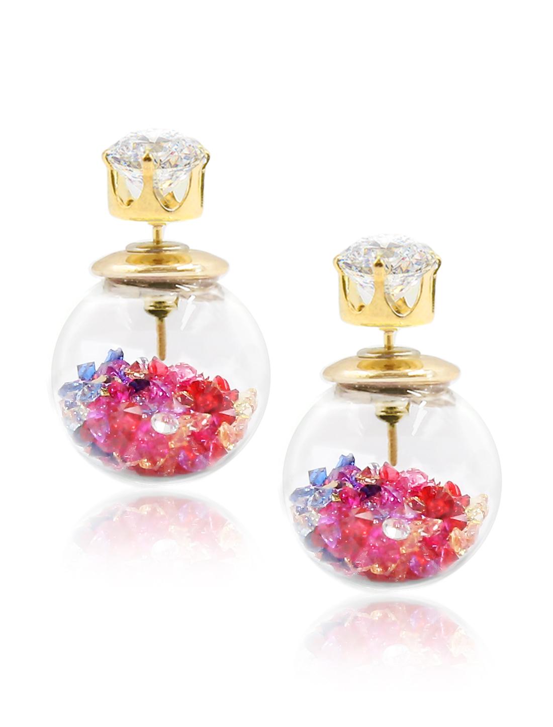 Fashion Women Elegant Double Sides Zircon Transparent Ball Faux Crystal Earrings Ear Stud 1 Pair Multi-colored