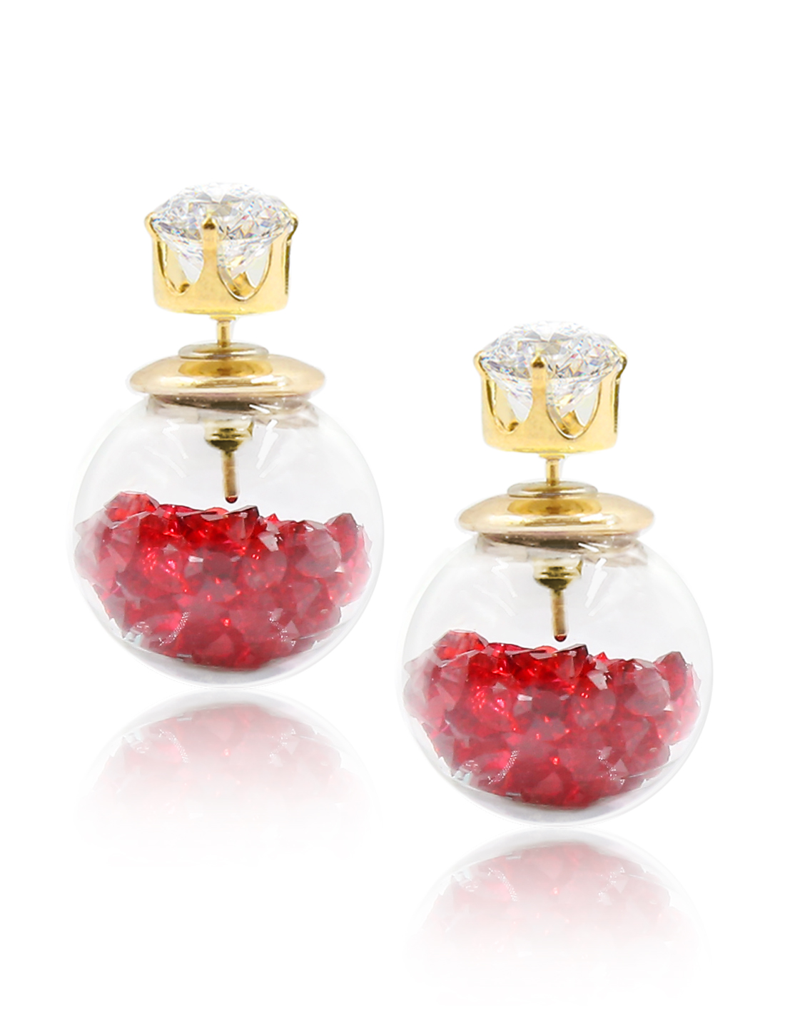 Fashion Women Elegant Double Sides Zircon Transparent Ball Faux Crystal Earrings Ear Stud 1 Pair Red