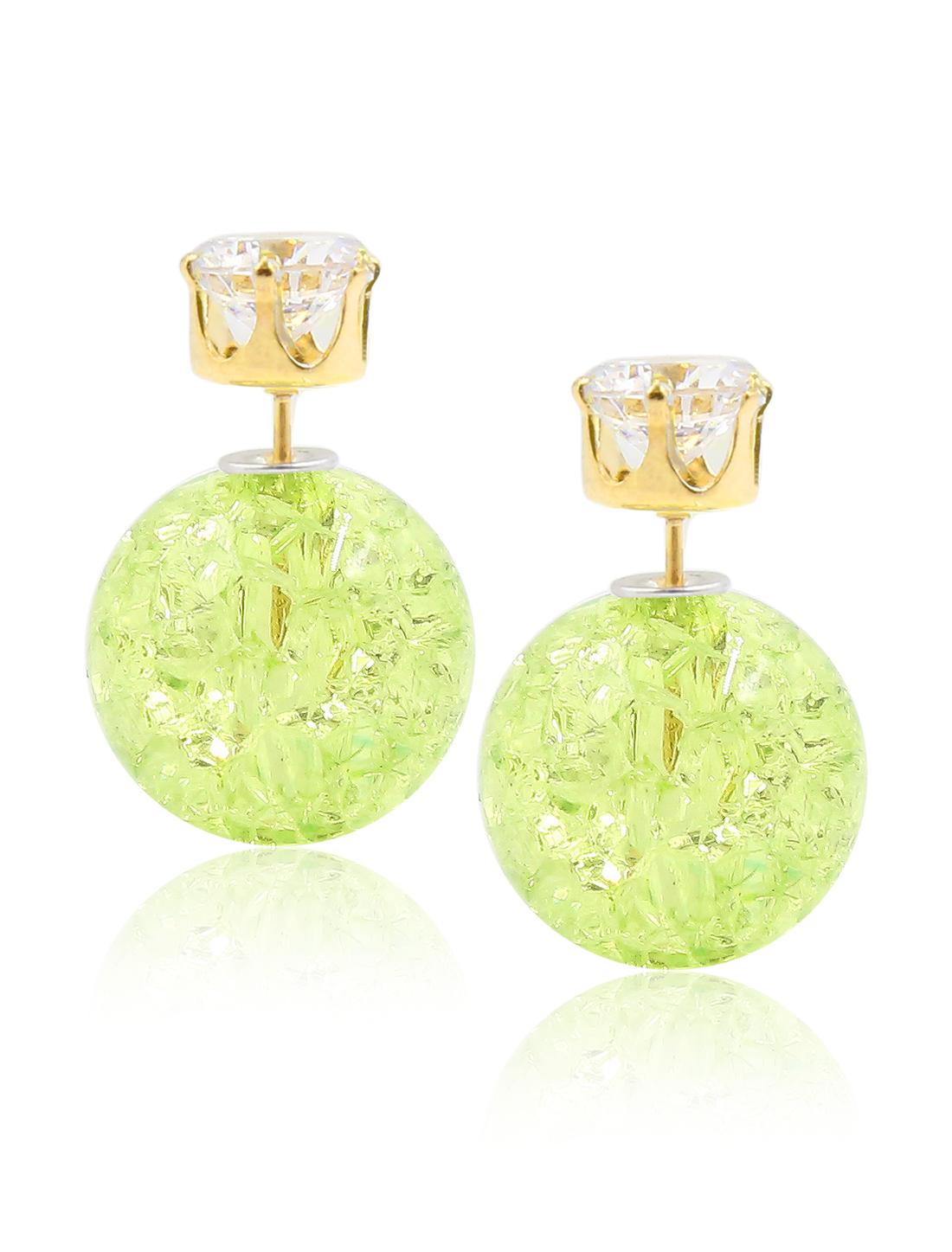 Fashion Women Elegant Double Sides Zircon Faux Crystal Ball Earrings Ear Stud 1 Pair Green
