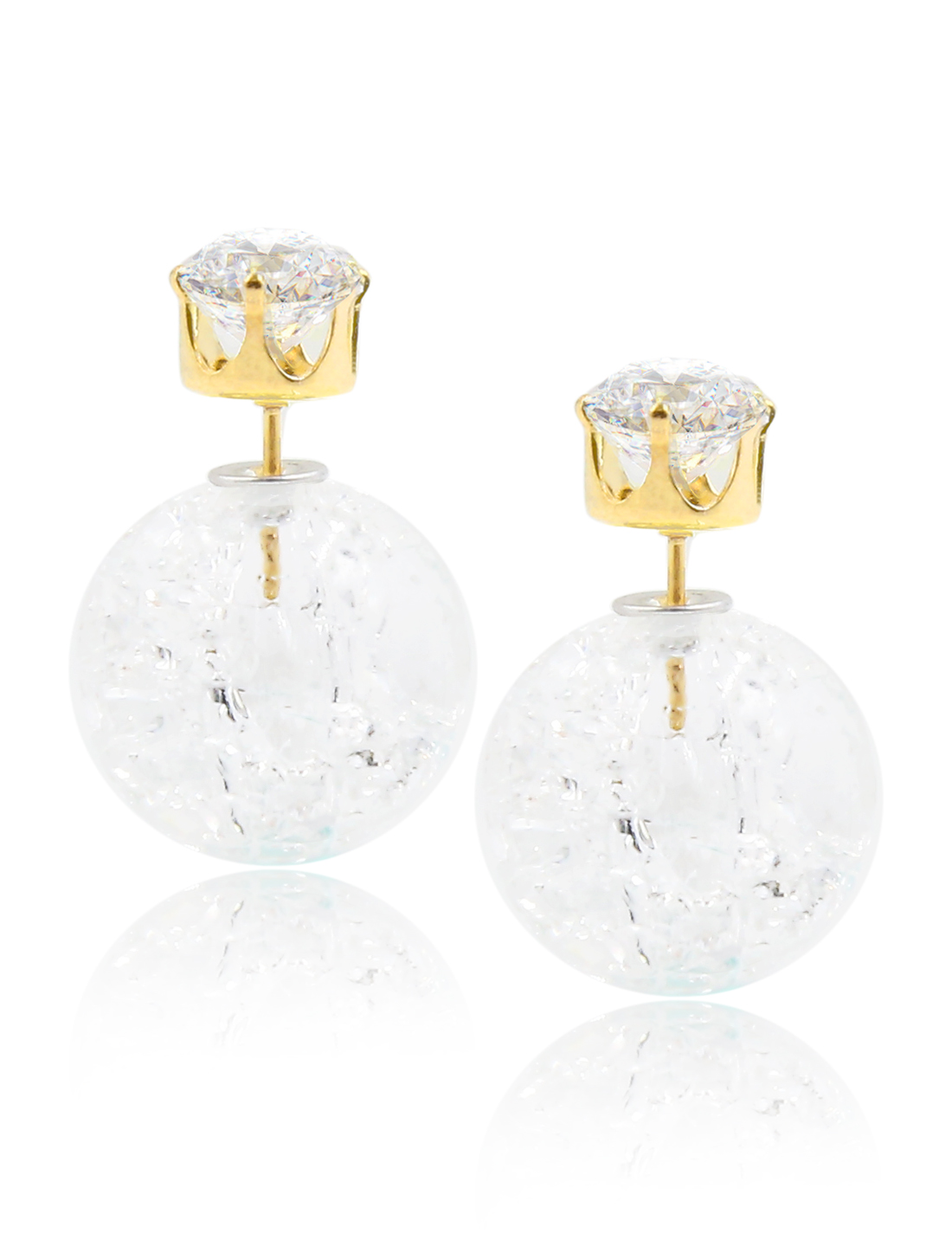 Fashion Women Elegant Double Sides Zircon Faux Crystal Ball Earrings Ear Stud 1 Pair White