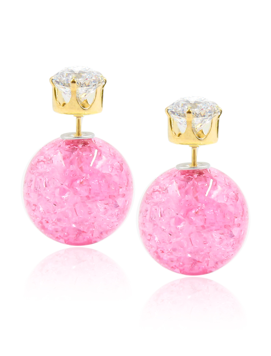 Fashion Women Elegant Double Sides Zircon Faux Crystal Ball Earrings Ear Stud 1 Pair Pink