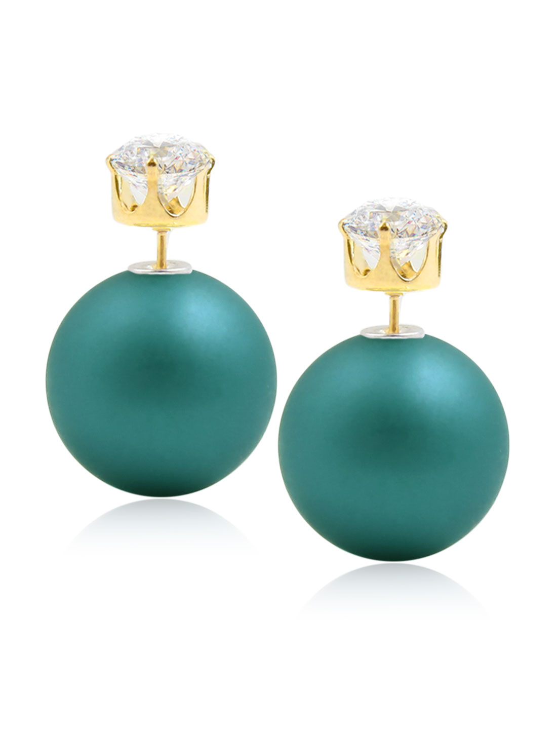 Fashion Women Elegant Double Sides Zircon Ball Earrings Ear Stud 1 Pair Dark Green with Gold