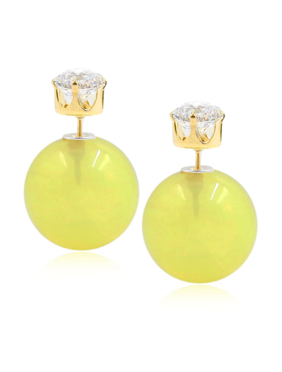 Fashion Women Elegant Double Sides Zircon Ball Earrings Ear Stud 1 Pair Yellow