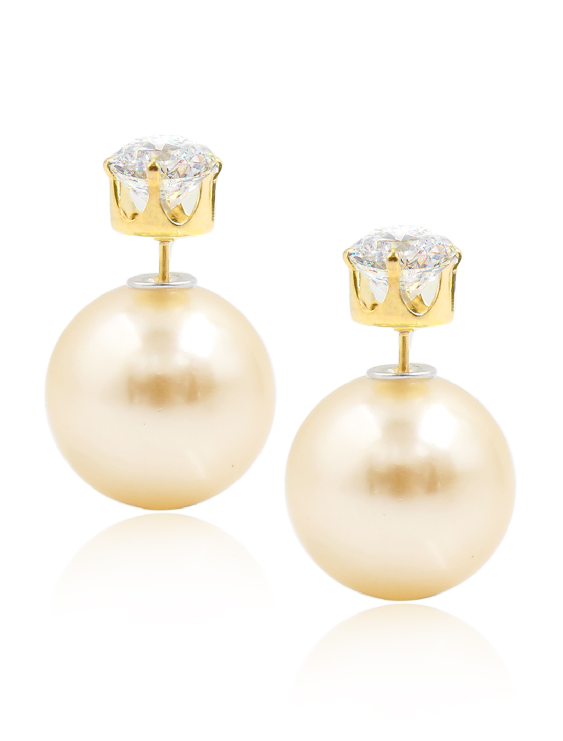 Fashion Women Elegant Double Sides Zircon Ball Earrings Ear Stud 1 Pair Apricot