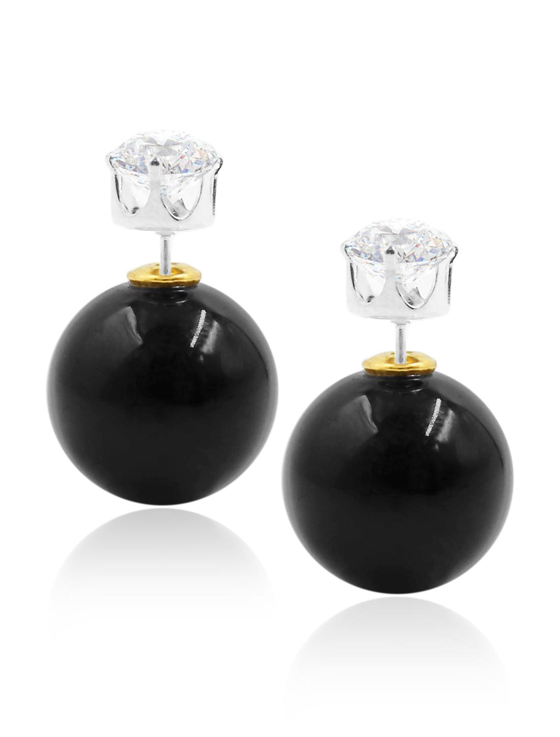 Fashion Women Elegant Double Sides Zircon Ball Earrings Ear Stud 1 Pair Black