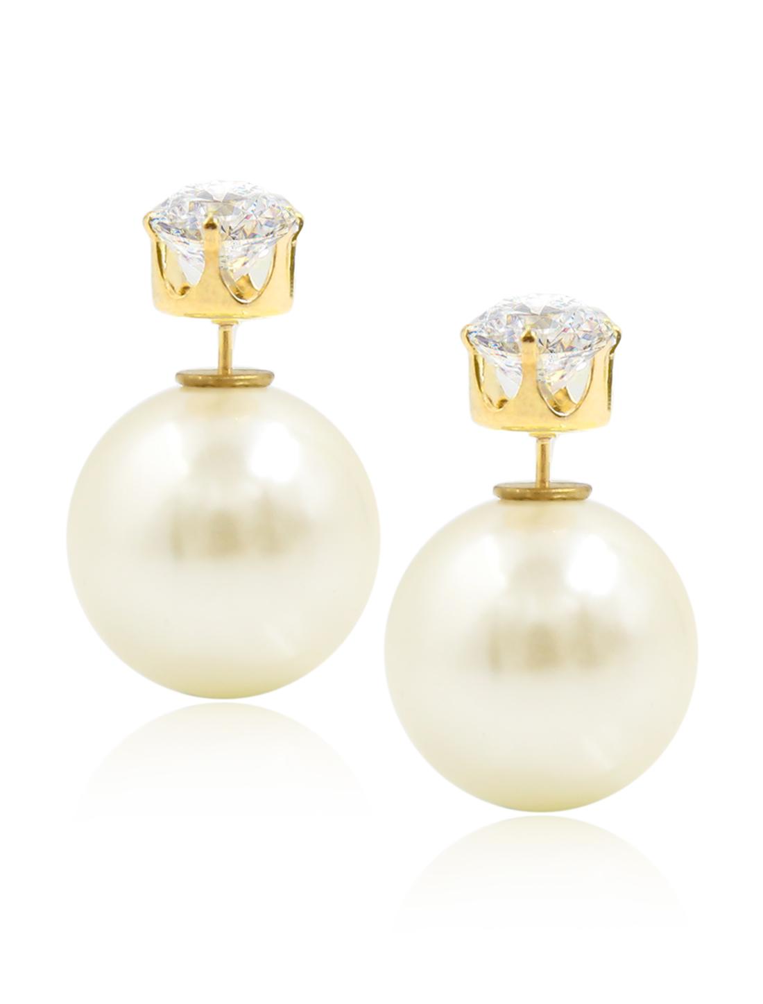 Fashion Women Elegant Double Sides Zircon Ball Earrings Ear Stud 1 Pair Beige