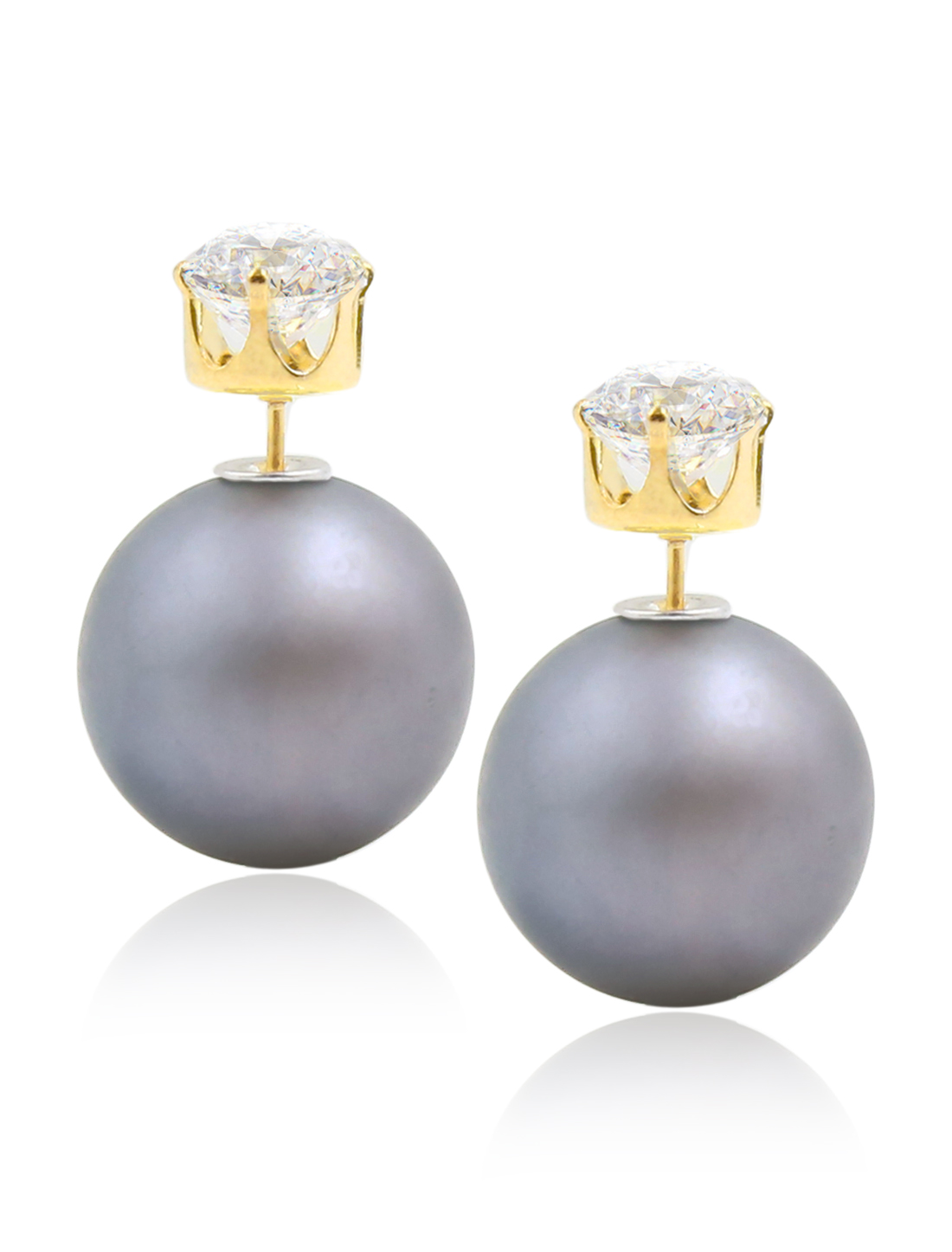 Fashion Women Elegant Double Sides Zircon Ball Earrings Ear Stud 1 Pair Matte Gray